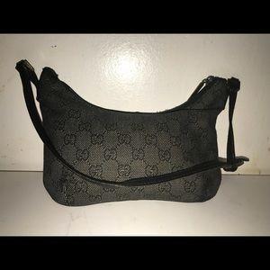 AuthGUCCI Black Denim Monogram Small Shoulder Bag